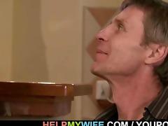 hot brunette wife cuckolds spouse