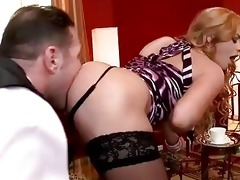 family slave licking hot blonde lady