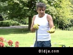 aged boy nails youthful asshole outdoor