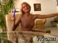 girlie plays with sex tool