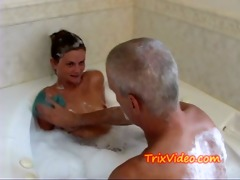 dad bathes his teen step-daughter