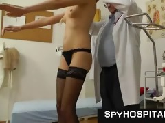 slim tall golden-haired physical and muff exam on
