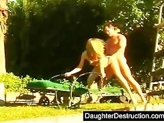 cute young legal age teenager daughter drilled