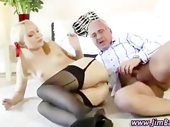 old guy fucks blond in her ass