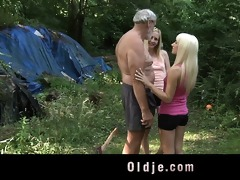 oldman fucks nubiles in the forest