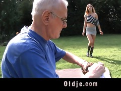 lucky grandpa cleans youthful lewd cookie