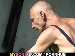 old daddy toying his sons gf pussy