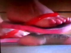 nurse in flip flops giving footjob