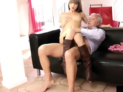 young european wench riding dick of an old chap