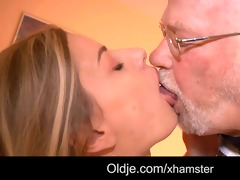 old boss evaluates young secretary with fuck