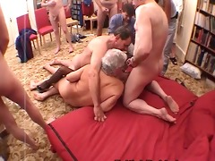 golden-haired nurse has group sex with grandpas