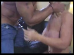 hot muscle daddy gets bj from a lucky blonde