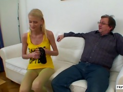 shy young hotty screwed by old man