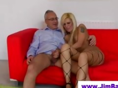 british fishnet babe copulates old man