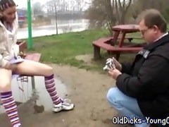 grandpa with young girl outdoor