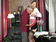 old cock copulates youthful russian maid