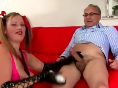 old guy younger babe handjob and spunk fountain