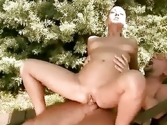 granddad fucks youthful brunette outdoor
