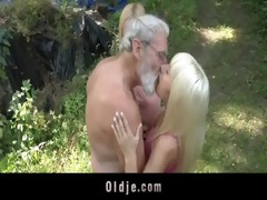 bearded oldman trio with blond nubiles