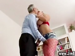 busty blonde in stockings gets off