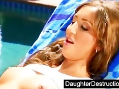 cute daughter drilled by dirty man