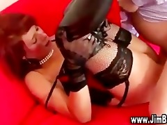 redhead in underware and stockings