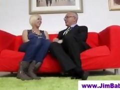 blond in stockings and old man