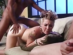 dad jerks off while babe receives fucked