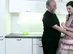 concupiscent slim girl lets old man seduce her,