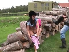 dark brown teen angelica gets nailed outdoors