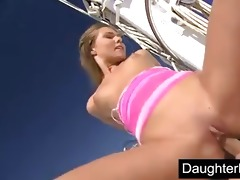 legal age teenager daughter screwed hard on boat
