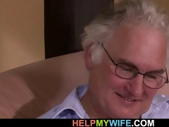 old man watches his wife drilled